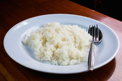 Cook rice in white dish. White rice on the talbe Stock Images