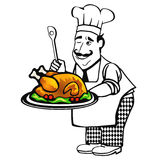 Cook with roast. Cook with big turkey roast Royalty Free Stock Photos