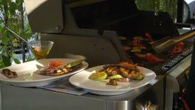 Cook rozkładał na talerzach z pomocą forceps różnorodni warzywa tak jak oberżyna, pieprz, zucchini i pieczarki, Zdrowy zbiory