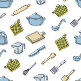 Cook's tools color  seamless pattern. Royalty Free Stock Photos