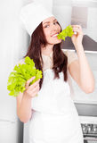 Cook with salad Stock Photos