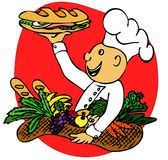 Cook with a sandwich. Colour illustration of a cook handing out a sandwich and carrying basket of fruit and vegetable Royalty Free Stock Photo