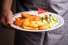 Cook serving diner - fried chicken strips, french fries and salad. Dinner on the plate in cook`s hand - fried chicken strips, french fries and salad. Kid`s meal stock photography
