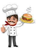 Cook serving Hamburger french fries plate thumb up isolated Royalty Free Stock Image