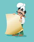 Cook with a sheet of paper. Chef with a big mustache, smiling and pointing to the empty form, which can be text (menu Royalty Free Stock Photography