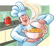 Cook shows us a bowl full of steaming spaghett. I with tomato sauce vector illustration