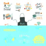 Cook sign vector cooking or coffee lettering and cookery or baking typography template to print illustration set of text Stock Images