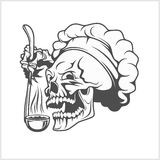 Cook skull with a ladle. Chef skull in toque. Cook skull with a ladle vector illustration