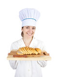 Cook with  slicing bread Stock Images