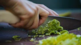 The cook slicing the green onion on the board