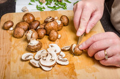Cook slicing mushrooms in kitchen Stock Images