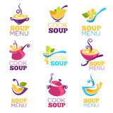 Cook soup, vector collection of bowl full of tasty soup. For your menu, logo, emblems and symbols Royalty Free Stock Photos