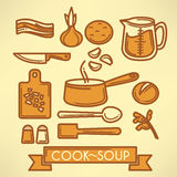 Cook soup. Vector line art food collection royalty free illustration
