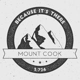 Cook in Southern Alps, New Zealand outdoor. Cook in Southern Alps, New Zealand outdoor adventure logo. Round climbing vector insignia. Climbing, trekking Stock Photo
