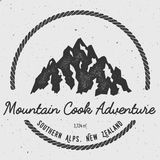 Cook in Southern Alps, New Zealand outdoor. Cook in Southern Alps, New Zealand outdoor adventure logo. Round hiking vector insignia. Climbing, trekking, hiking Royalty Free Stock Image