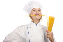 Сook with spaghetti in hands on white background Royalty Free Stock Photography