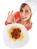 Cook with spaghetti Stock Image
