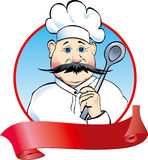Cook with spoon. And ribbon Royalty Free Stock Photography