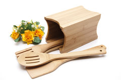 Cook spoon with flower Stock Photos