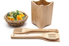 Cook spoon set with flower Royalty Free Stock Image