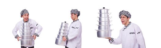 Cook with stack of pots on white. The cook with stack of pots on white stock image