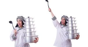 Cook with stack of pots on white. The cook with stack of pots on white stock photography