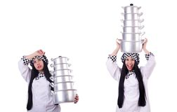Cook with stack of pots on white. The cook with stack of pots on white stock photos