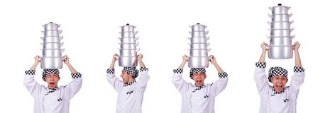 The cook with stack of pots on white. Cook with stack of pots on white royalty free stock photo