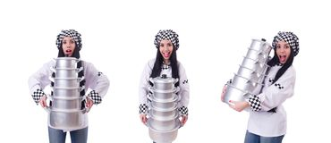 The cook with stack of pots on white. Cook with stack of pots on white stock photo