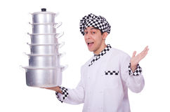 Cook with stack of pots Royalty Free Stock Photo