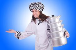 Cook with stack of pots Stock Images