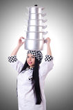 Cook with stack of pots Royalty Free Stock Image