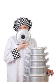 Cook with stack of pots Royalty Free Stock Images