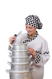 Cook with stack of pots Royalty Free Stock Photography