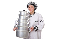 Cook with stack of pots Stock Image