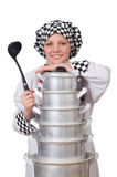 Cook with stack of pots Stock Photography