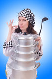 Cook with stack of pots Stock Photos