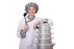 Cook with stack of pots Stock Photo