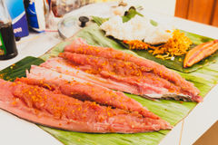 Cook sushi from fresh seafood fish and rice on white backround Royalty Free Stock Photography