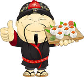 Cook of sushi. The cook holds in sushi hand royalty free illustration