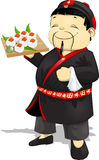 Cook of sushi. Cook who holds sushi in the hands of stock illustration