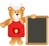 Cook teddy bear with slate board Royalty Free Stock Image