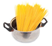 Cook The Spagetti In The Pan Royalty Free Stock Photography