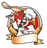 Cook throws the pizza. Cook cartoon throws the pizza Stock Photography