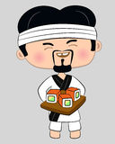 Cook with tray of sushi Stock Image