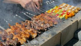 Cook turns vegetables and meat on skewers stock video footage