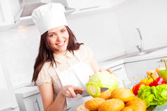 Cook with vegetables Stock Photography