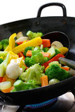 Cook Vegetables In A Chinese Wok Royalty Free Stock Photo