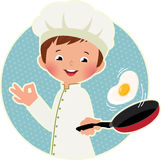 Cook virtuoso flipping an fried eggs or a omelette Royalty Free Stock Image