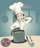 Cook w kuchni Zdjęcia Stock